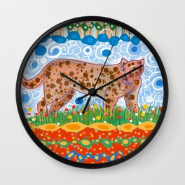 Leopard in the grass Wall Clock