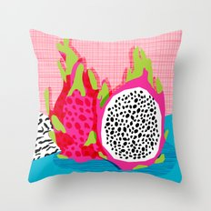 Hard Core - memphis throwback retro neon tropical fruit dragonfruit exotic 1980s 80s style pop art Throw Pillow
