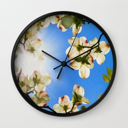 Sunlit Dogwood Blooms Wall Clock