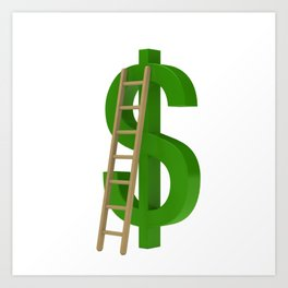 Worker with briefcase next to the green dollar symbol Art Print