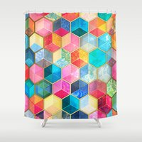 honeycomb Shower Curtains featuring Crystal Bohemian Honeycomb Cubes - colorful hexagon pattern  by micklyn