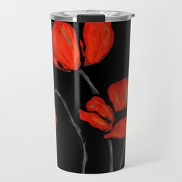 Red Poppies On Black by Sharon Cummings Travel Mug