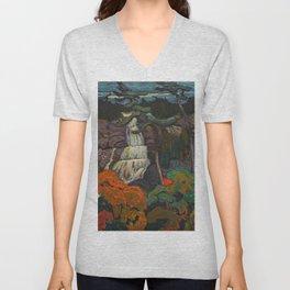 J.E.H. Macdonald Algoma Waterfall, 1920, McMichael Canadian Art Collection Unisex V-Neck