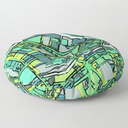 Abstract Map- Lowell MA Floor Pillow