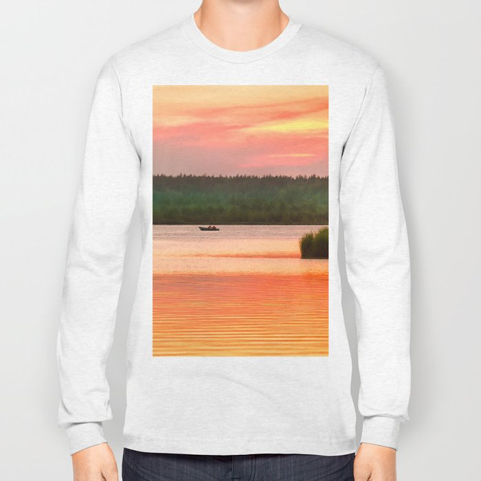 Summer sunset on Wild lake Long Sleeve T-shirt