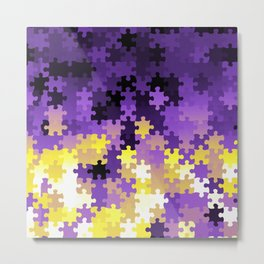 Nonbinary Pride Puzzle Pieces Pattern Metal Print