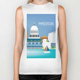 Madison, Wisconsin - Skyline Illustration by Loose Petals Biker Tank