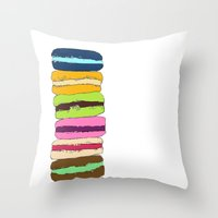 macaroons Throw Pillows featuring Macaroons by Pea Press