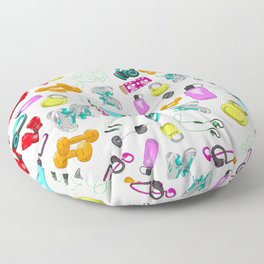 Work Out Items Pattern Floor Pillow