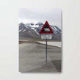 Polar bears traffic sign in Svalbard Metal Print