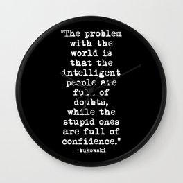 Charles Bukowski Typewriter White Font Quote Confidence Wall Clock