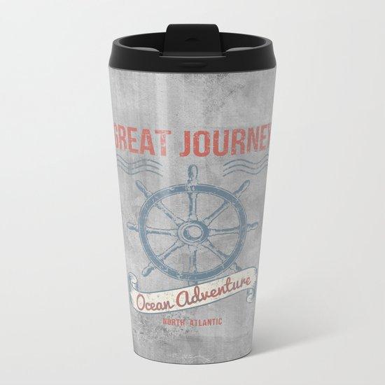 Maritime Design- Great Journey Ocean Adventure on grey abstract background #Society6 Metal Travel Mug