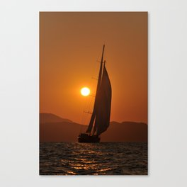 sailboat in sunset Canvas Print