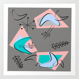 Atomic Era Inspired Boomerangs Art Print