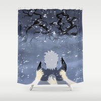 sasuke Shower Curtains featuring By My Side by ocean