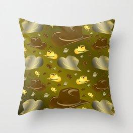 brown, golden pattern of little cowboy hats Throw Pillow