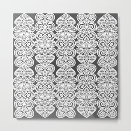 Modern Black and White Decorative Lace Pattern Metal Print