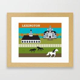 Lexington, Kentucky - Skyline Illustration by Loose Petals Framed Art Print