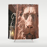 narnia Shower Curtains featuring Aslan  by Photaugraffiti