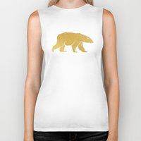 gold foil Biker Tanks featuring Gold Foil Polar Bear by Mod Pop Deco