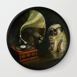 Pug and His Master´s Voice Wall Clock
