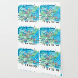 New Orleans Louisiana Favorite Travel Map with Touristic Highlights in colorful retro print Wallpaper