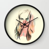 cara Wall Clocks featuring Cara by Beth Zimmerman Illustration
