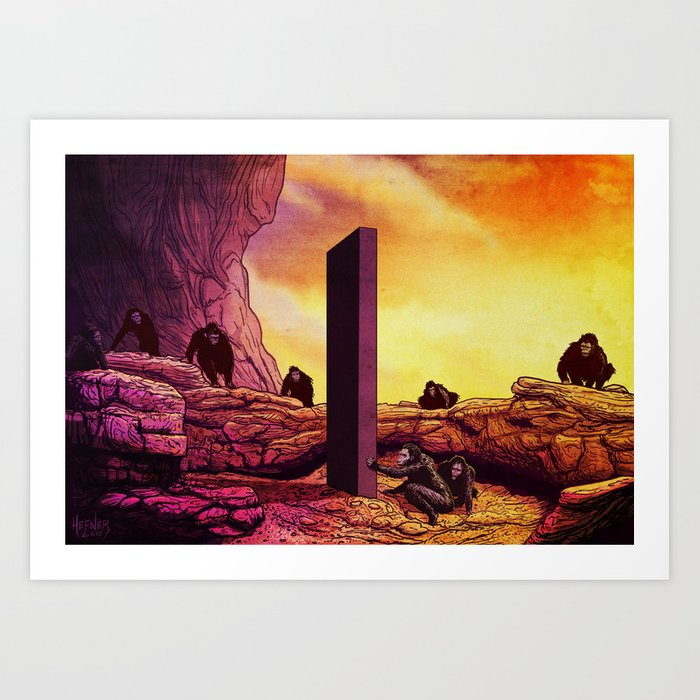ape men meet monolith 2001 a space odyssey art print by consumepopculture society6 ape men meet monolith 2001 a space odyssey art print by consumepopculture