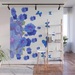 BABY BLUE ART BLUE BUTTERFLIES & MORNING GLORIES Wall Mural