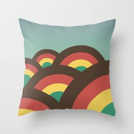 Foothills on warm blue - 70´s Throw Pillow