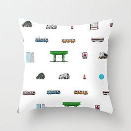 Boston Pixel Pattern Throw Pillow