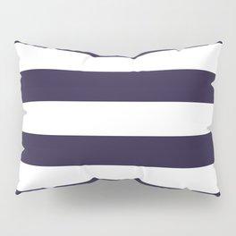 Dark eclipse Blue and White Wide Horizontal Cabana Tent Stripe Pillow Sham