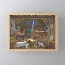 Baby Jesus Divine Manger Holy Night Christmas Nativity Scene Barnyard Farm Animals Framed Mini Art Print