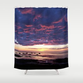 Textured Clouds at Sunset Shower Curtain