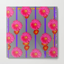 Grey Color & Pink Gerber Flowers Pattern Metal Print