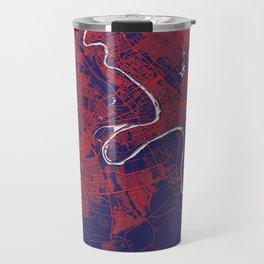 Baghdad, Iraq, Blue, White, City, Map Travel Mug