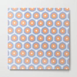 Pale Blue Orange Geo Pattern Metal Print