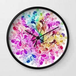 Rainbow Watercolor Paisley Floral Wall Clock