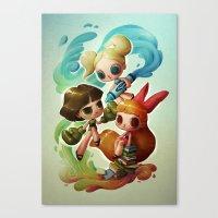 powerpuff girls Canvas Prints featuring Powerpuff Girls (re-imagined) by Marija Tiurina