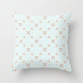 Blue Festive Star Snow Flake Lattice Winter Throw Pillow