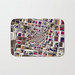 White House With Spinning 3D Cubes Bath Mat