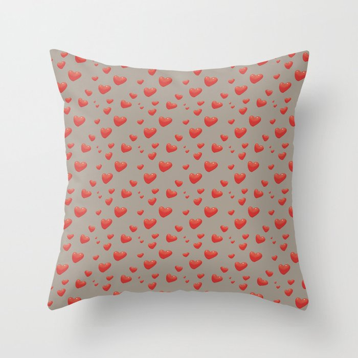Floating Hearts, Heart Balloons Throw Pillow