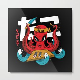 Octopus sushi Chef with knife and chopsticks Metal Print