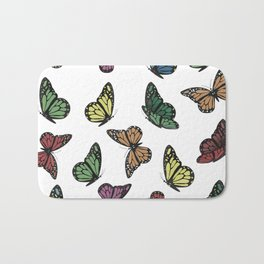 Multi Colored Butterfly Pattern Bath Mat