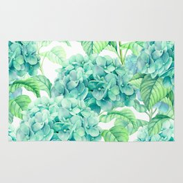 Hand painted green watercolor hydrangea floral pattern Rug