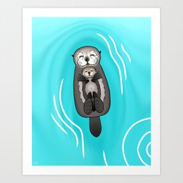 Mother and Pup Sea Otters - Mom Holding Baby Otter Art Print