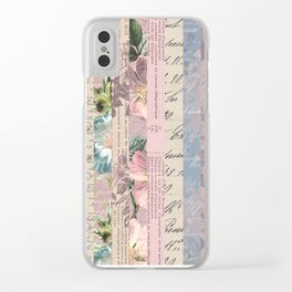 Vintage Shabby Florals Clear iPhone Case