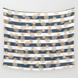 Nautical modern navy blue white stripes blush beige pineapple Wall Tapestry
