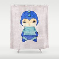 megaman Shower Curtains featuring A Boy - Megaman by Christophe Chiozzi