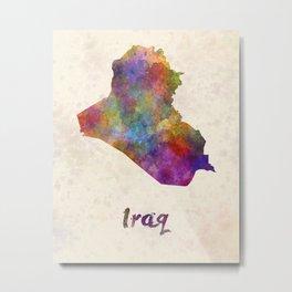 Iraq in watercolor Metal Print